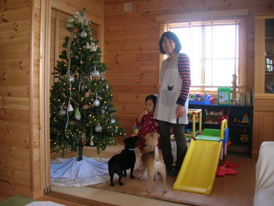 フリールームにツリーと犬と親子.JPGのサムネール画像